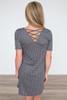 Polka Dot Cross Back Detail Dress - Charcoal - FINAL SALE