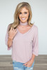 Everly V-Neck Choker Collar Top - Pale Pink - FINAL SALE