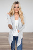 Open Front Elbow Patch Cardigan - Heather Grey - FINAL SALE