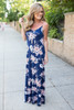 Floral Print Maxi Dress - Navy Multi - FINAL SALE