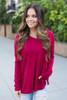 Cozy V-Neck Sweater - Crimson - FINAL SALE