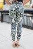 Zipper Detail Camo Pants - Green Multi - FINAL SALE
