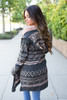 Aztec Hooded Cardigan - Charcoal Multi - FINAL SALE