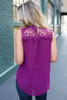 Surplice Lace Detail Sleeveless Blouse - Berry - FINAL SALE