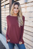 Solid Knit Piko Top - Rust