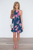 Bloom Where You Are Planted Shift Dress - Navy - FINAL SALE