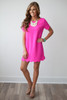 It Girl Solid Short Sleeve Scalloped Woven Shift Dress - Hot Pink - FINAL SALE