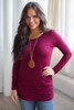 Long Sleeve Ruched Knit Tunic - Wine