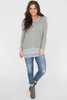 Long Sleeve Layered Contrast Sweater - Grey - FINAL SALE