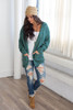 Cable Knit Pocket Cardigan - Emerald - FINAL SALE