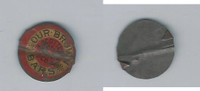 Tin Tobacco Tag, 1890's-1910's, Our Brown Bars, (Red & Yellow)