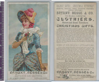 Victorian Card, 1890's, Bryant, Besse Clothiers, Girl at Seashore