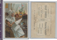 Victorian Card, 1890's, Chicago Yeast Powder, Old Lady Reading Paper