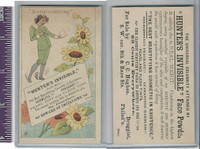 Victorian Card, 1890's, Hunters Face Powder, Girl Reading & Flowers