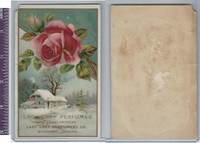 Victorian Card, 1890's, Lady Grey Perfume, Rose & Winter Scene