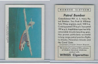 T87 Wings Cigarettes, Series (No Letter Series), 1941,#16 Patrol Bomber