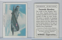 T87 Wings Cigarettes, Series (No Letter Series), 1941,#19 Torpedo Bomber