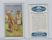 A66-15 Anstie Cigarettes, Scout Series, 1923, #45 Scout Dyak Malay