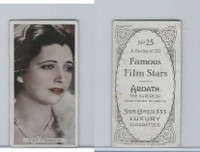 A72-23 Ardath Tobacco, Famous Film Stars, 1934, #25 Kay Francis