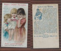 Victorian Card, 1890's, Ayer's Medicine, Lowell, Mass., 3 Girls, Cherry in Mouth