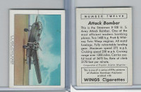 T87 Wings Cigarettes, Series (No Letter Series), 1941,#12 US Army Bomber