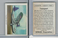 T87 Wings Cigarettes, Series (No Letter Series), 1941,#22 US Navy Transport