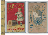 Victorian Card, 1880's, JP Coats, Girl Standing By Spool, Best Six Cord Thread