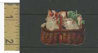 Victorian Diecuts, 1890's, Cats, Two Kittens in Basket (15)