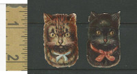 Victorian Diecuts, 1890's, Cats, Two Kittens Heads (17)