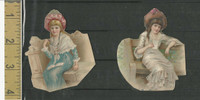 Victorian Diecuts, 1890's, Girls, Two Cutouts Seated (9)