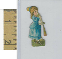 Victorian Diecuts, 1890's, Girls, Blue Dress (19)