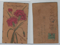 L Misc, Leather Postcard, 1907, Harrisburg, PA, You Are Beautiful, Flowers