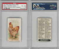 E31 Philadelphia, Zoo Cards, Game Fowl, 1907, Buff Cochin China Cock, PSA 4 VGEX