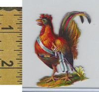 Victorian Card, 1890's, Animals Diecut, Chicken With Sword (A9)