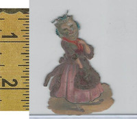 Victorian Card, 1890's, Animals Diecut, Cat Wearing Dress (A14)