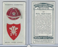 H44-35 Hignett, International Caps & Badges, 1924, #23 Wales Rugby League