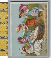 Victorian Card, 1890's, Acme Soap, Girls, Baby in Nest