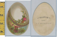 Victorian Card, 1890's, Brown, TC, Easter 1882, Egg, Flowers, Church