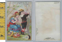 Victorian Card, 1890's, Clarks Thread, Girl Sewing Pants, Never Mind Johnnie