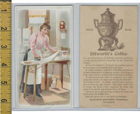 Victorian Card, 1890's, Dilworth Coffee, Pittsburgh PA, Tuesday, Lady Ironing