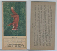 E161 Ghirardelli's, North American Wild Life, 1920's, Red Fox