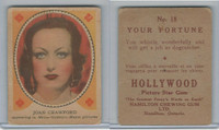 V289 Hamilton, Hollywood Picture Stars, 1938, #18 Joan Crawford