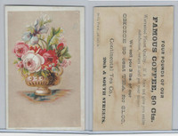 K Card, Continental Tea, 1890's, Flowers In Vase