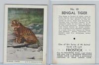 F55 Frostick, Animal Cards, 1933, #10 Bengal Tiger