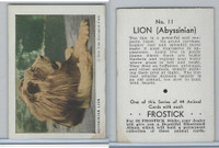 F55 Frostick, Animal Cards, 1933, #11 Abyssinian Lion