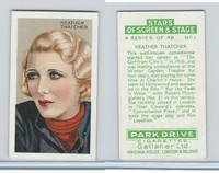 G12-100 Gallaher, Stars Of Screen & Stage, 1935, #1 Heather Thatcher