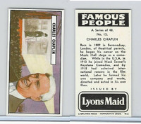 L0-0 Lyons Maid, Famous People, 1966, #13 Charles Chaplin
