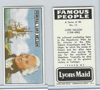 L0-0 Lyons Maid, Famous People, 1966, #17 Lord Nelson