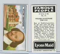 L0-0 Lyons Maid, Famous People, 1966, #19 William Shakespeare