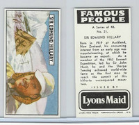 L0-0 Lyons Maid, Famous People, 1966, #21 Sir Edmund Hillary